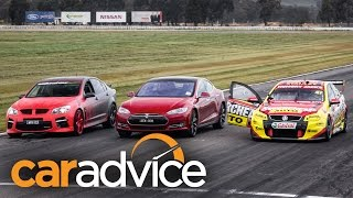 Tesla Model S v Street Car and V8 Supercar