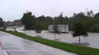 Semi Attempts Flooded Road