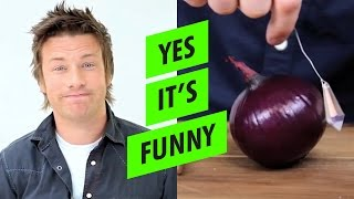 Jamie Oliver Chops Onions with Crystals