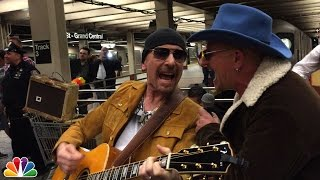 U2 Busks in NYC Subway