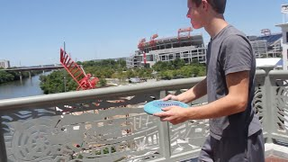 INSANE Frisbee Throw and Catch off of Bridge